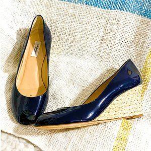 L.K. Bennett Zelita Patent Leather Peep Toe Wedges